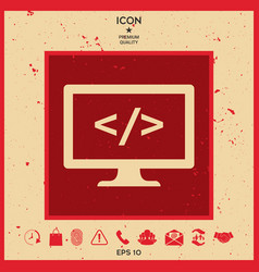 coding icon vector image vector image