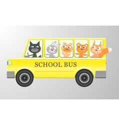 Cute animals in a bus vector