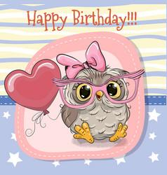 Cute cartoon owl girl with balloon vector