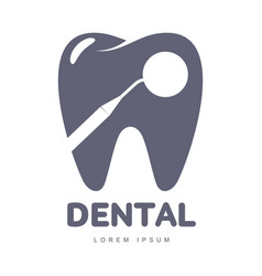 dental care logo template with mirror silhouette vector image vector image