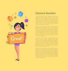 Discount voucher with smiling girl dreaming boxes vector