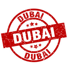 Dubai red round grunge stamp vector