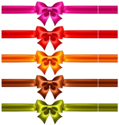 Festive bows in warm colors with ribbons vector image vector image