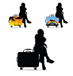 girl silhouette siting on travel bag set vector image