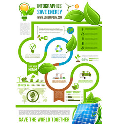 Green energy infographics on nature ecology vector