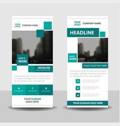 Green square business roll up banner flat design vector