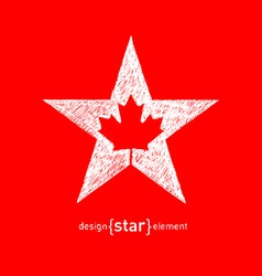 hand draw Canadian maple Leaf in Star vector image