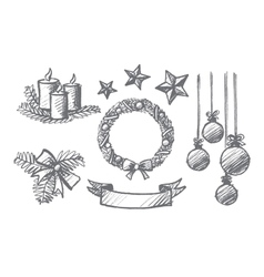 Hand drawn set of christmas decoration elements vector