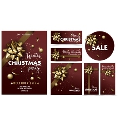 Holiday Merry Christmas party layout poster vector image vector image