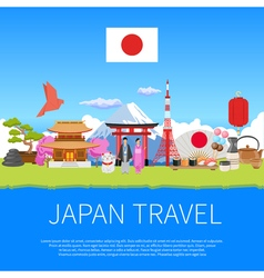 Japan travel flat composition advertisement poster vector