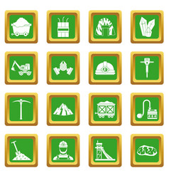 Miner icons set green vector