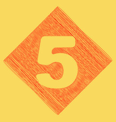 Number 5 sign design template element red vector