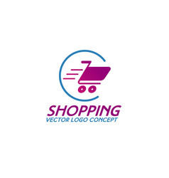 on line shopping logo consisting of shopping cart vector image