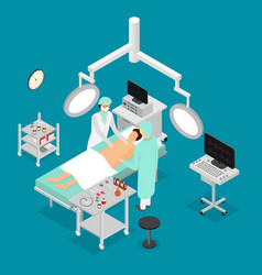 Patient and doctor surgery operating isometric vector