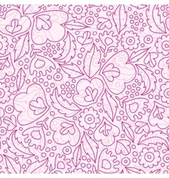 Pink flowers lineart seamless pattern background vector image vector image