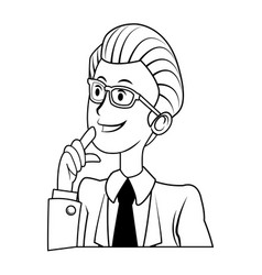 portrait male business man cartoon work people vector image vector image