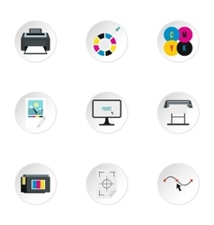 Printer icons set flat style vector