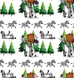 Seamless background with zebra and pinetree vector