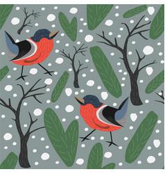 seamless pattern winter birdss spruce berries fir vector image vector image