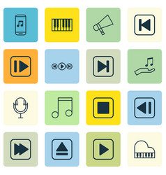 Set of 16 audio icons includes skip song extract vector