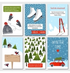 Set of 6 lovely winter cards templates vector image vector image