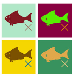 set of flat fish drawing seafood great for menu vector image vector image