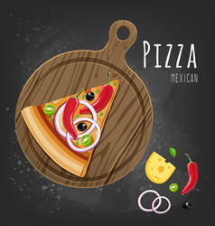 set of italian pizza on wooden boards 9 items vector image