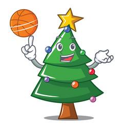 With basketball christmas tree character cartoon vector