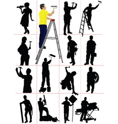 worker silhouettes vector image vector image