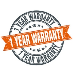 1 year warranty round orange grungy vintage vector