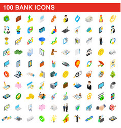 100 bank icons set isometric 3d style vector image vector image