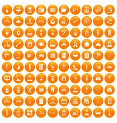 100 craft icons set orange vector