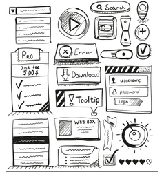 Hand drawn set of user interface design elements vector
