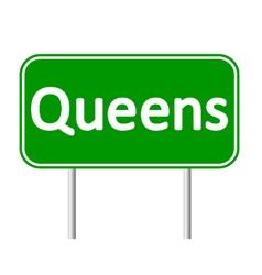 Queens green road sign vector