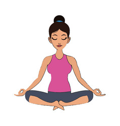 Woman doing yoga icon vector