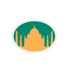 Paper sticker indian taj mahal on white background vector