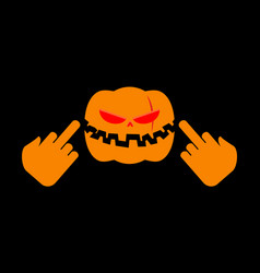 Angry pumpkin halloween shows to fuck aggressive vector