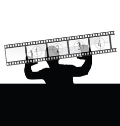 Man and film strip vector
