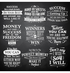 Success quotes chalkboard set vector