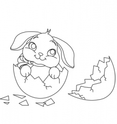 Easter bunny surprise coloring page vector image