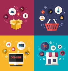 Set of flat design concept of e-commerce symbols vector