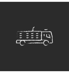 Fire truck icon drawn in chalk vector