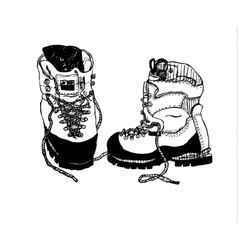 Alpine hiking boots vector