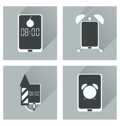 Concept of flat icons with long shadow mobile vector