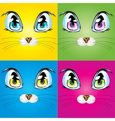 Set with colorful cats vector