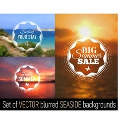 Summer posters with seaside background and text vector