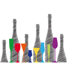 alcoholic bottles background vector image