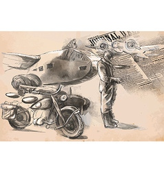 At the airport - a soldier on a motorcycle between vector