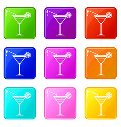 Beach cocktail set 9 vector