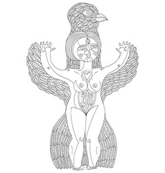 Black and white of weird creature nude woma vector